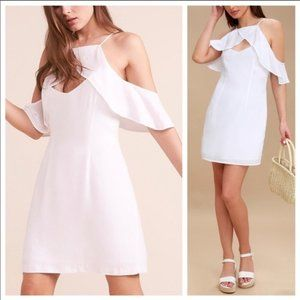 BB Dakota Kaless Off Shoulder White Shift Dress